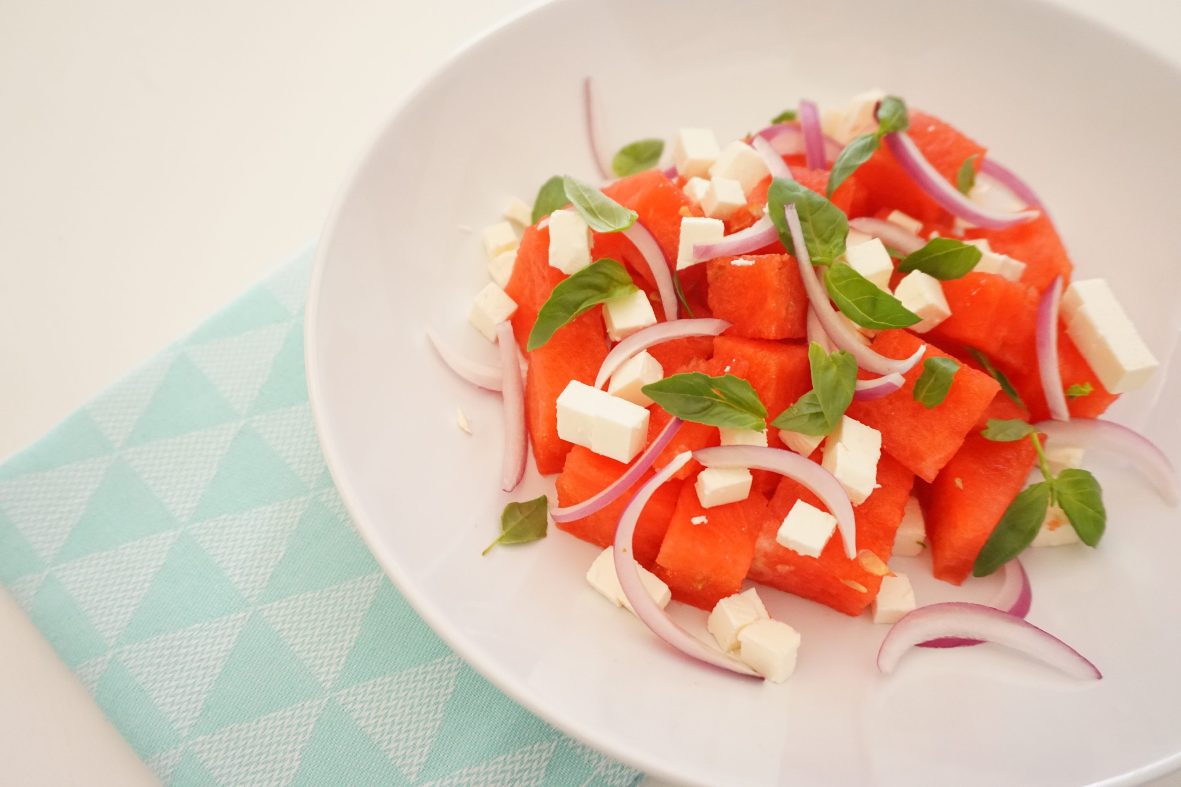 Watermeloen Salade met Feta en Basilicum