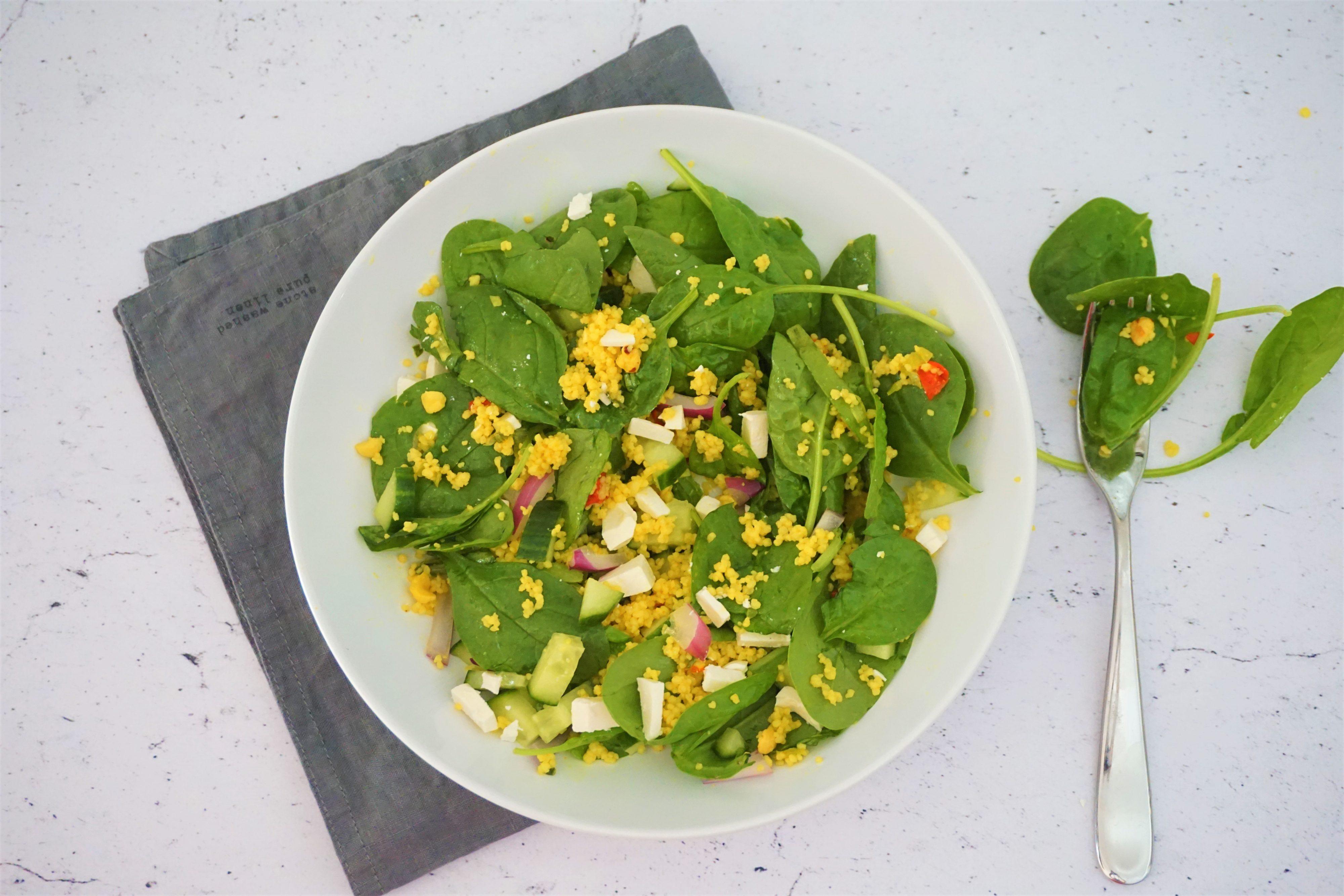Couscous Salade met Kerrie en Spinazie