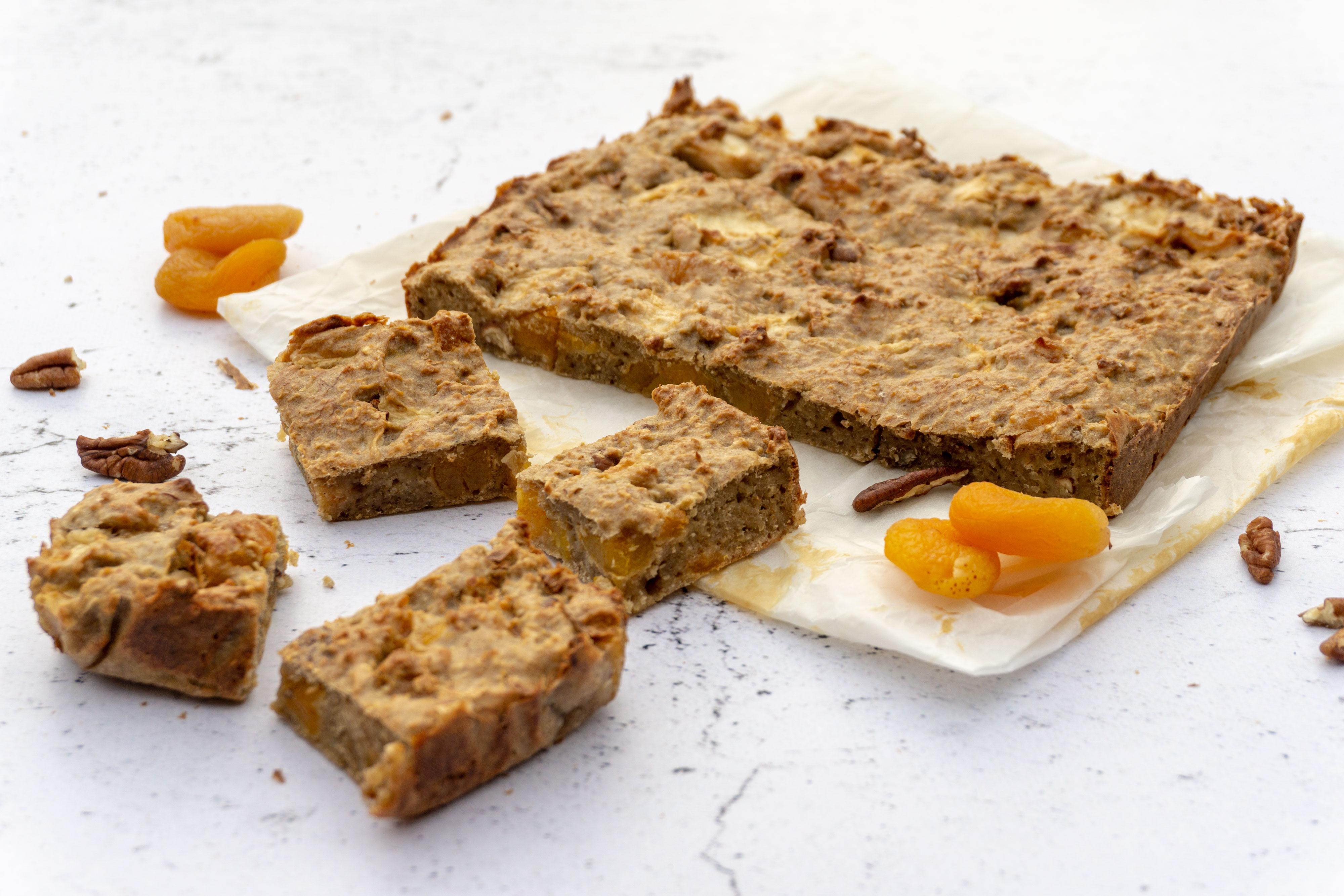 Havermoutcake met Appel en Abrikoos