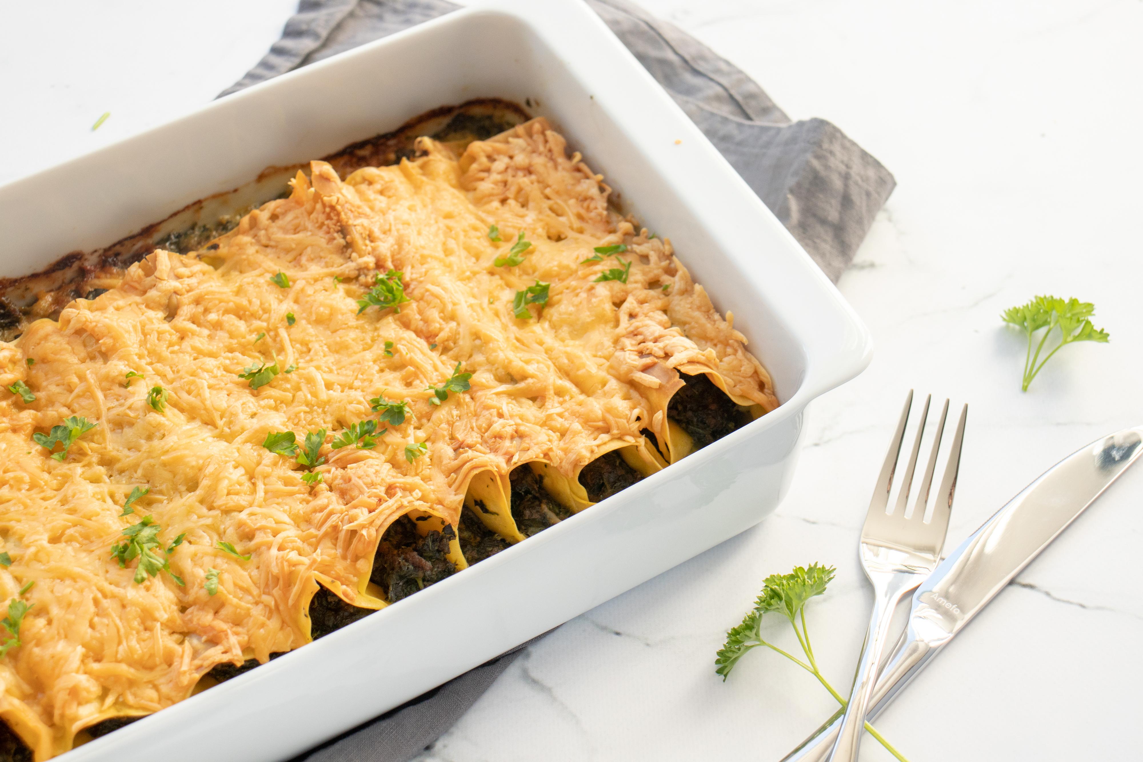 Cannelloni met Spinazie en Gehakt