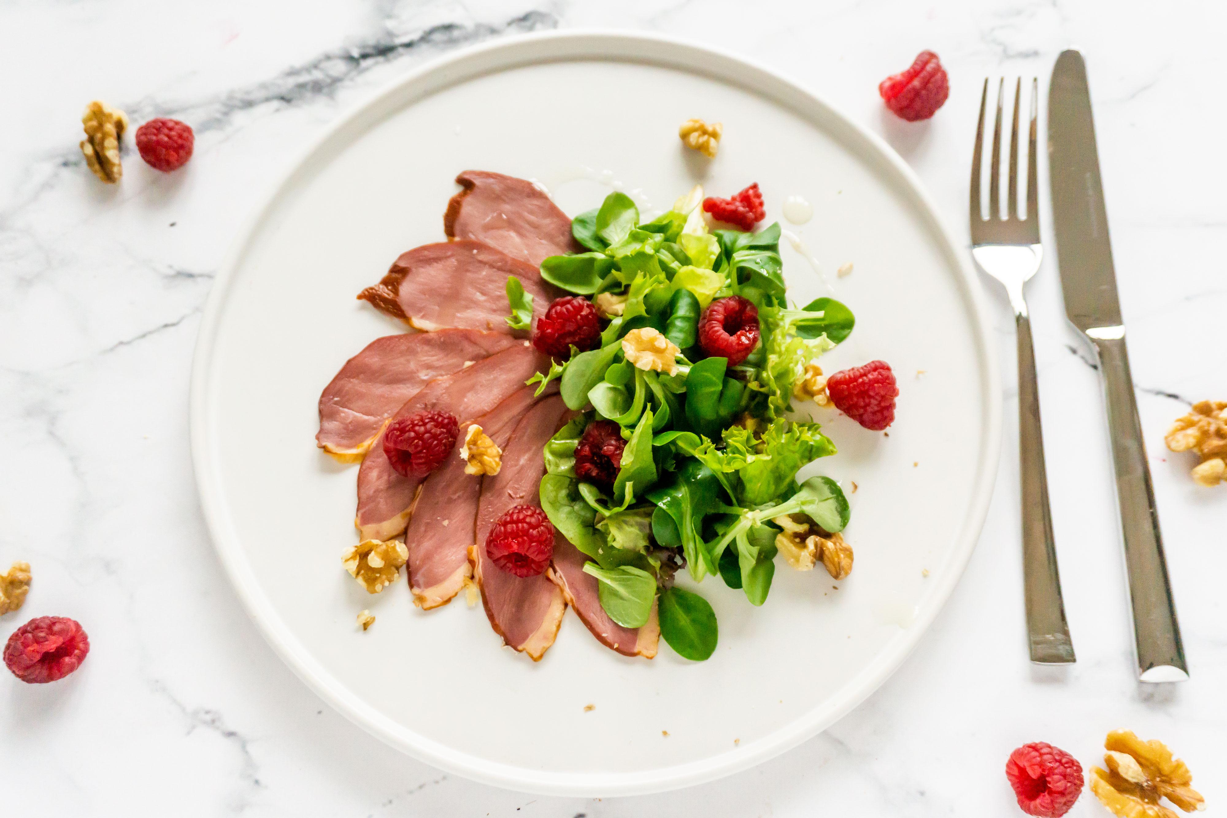 Salade van Gerookte Eendenborst