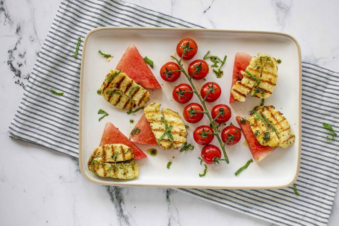 Salade van Gegrilde Halloumi en Watermeloen