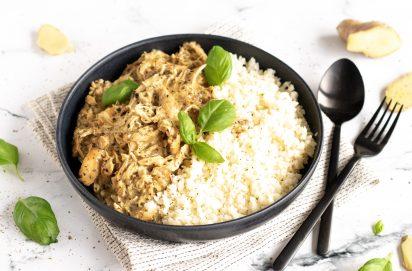 Slowcooker Kip Curry met Basilicum