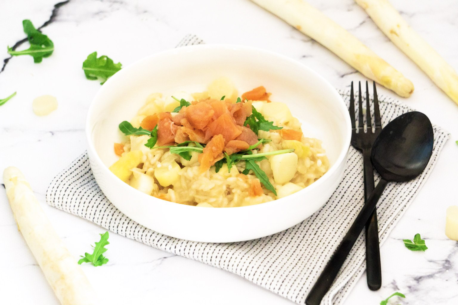 Asperge Risotto met Gerookte Zalm