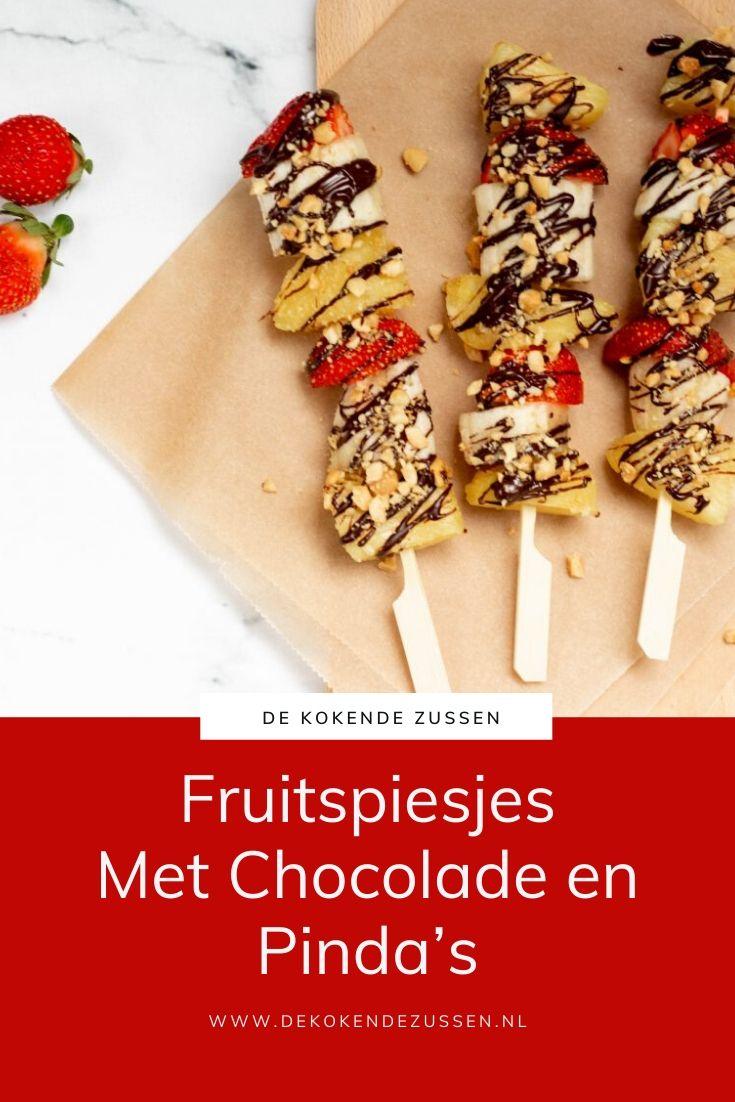 Fruitspiesjes met Chocolade en Pinda's