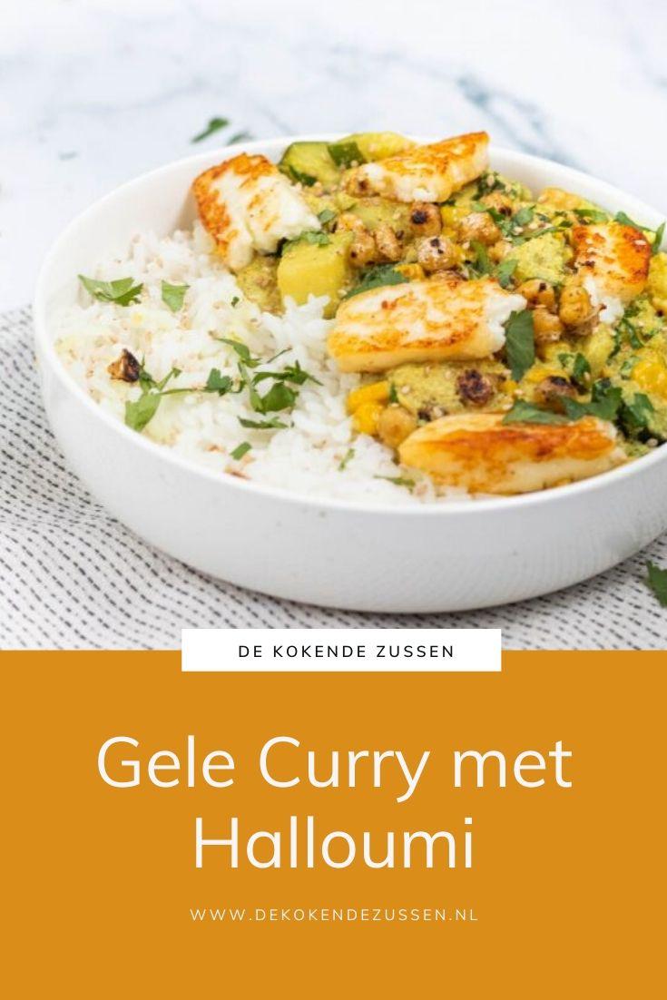 Gele Curry met Halloumi en Kikkererwten