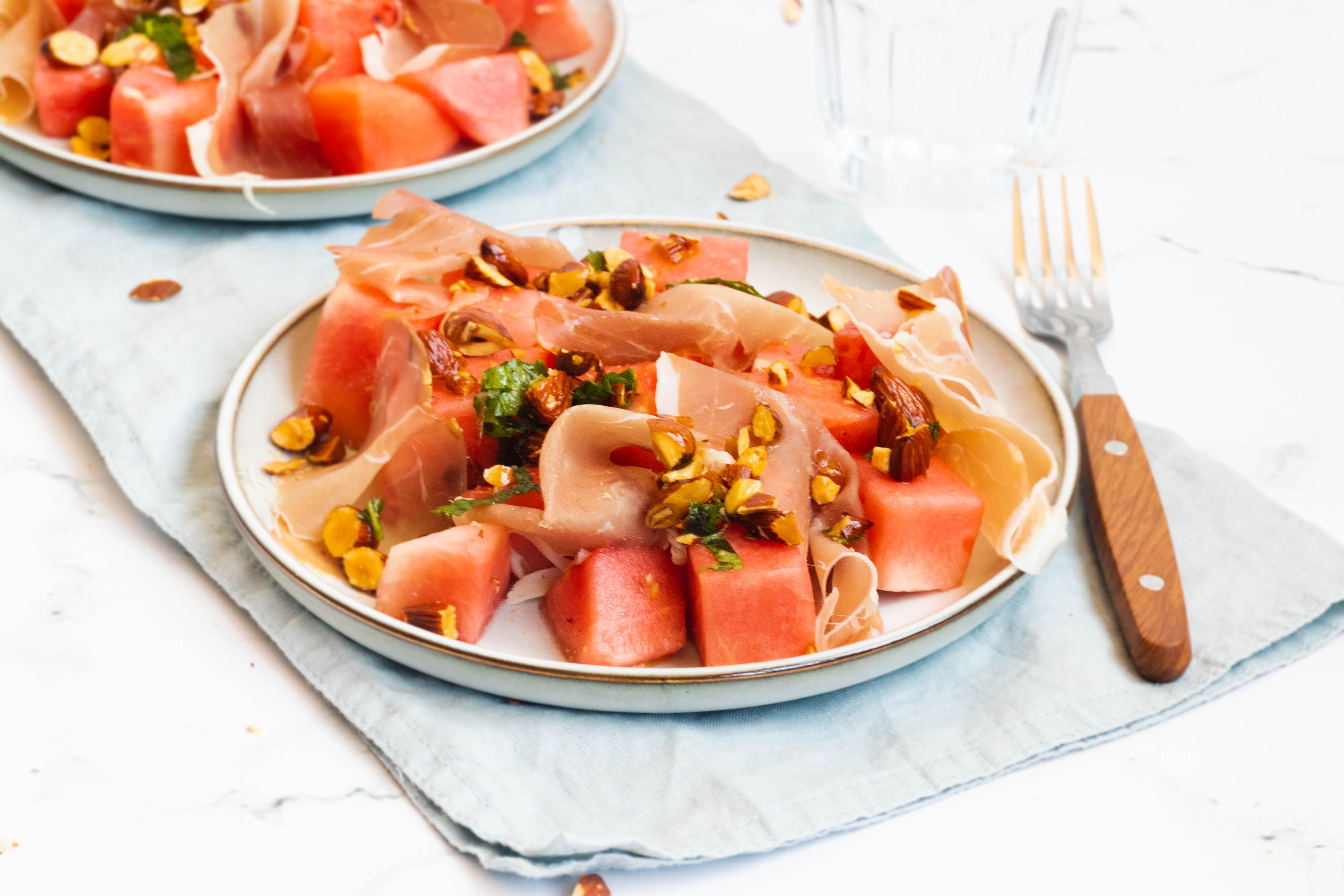 Watermeloen Salade met Rauwe Ham