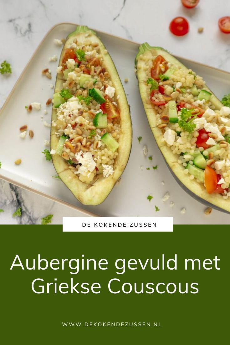 Aubergine gevuld met Couscous en Griekse Salsa
