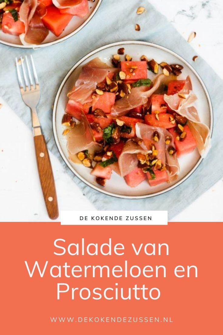 Watermeloen Salade met Rauwe Ham en Amandelen