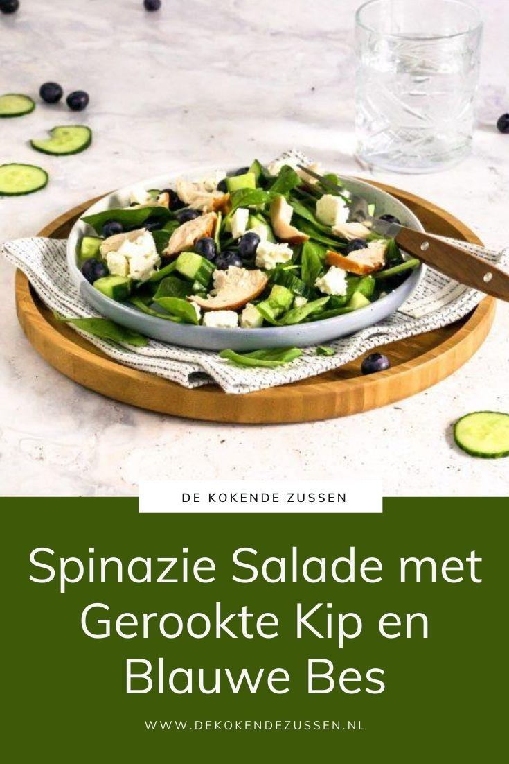 Spinazie Salade met Gerookte Kip en Blauwe Bessen
