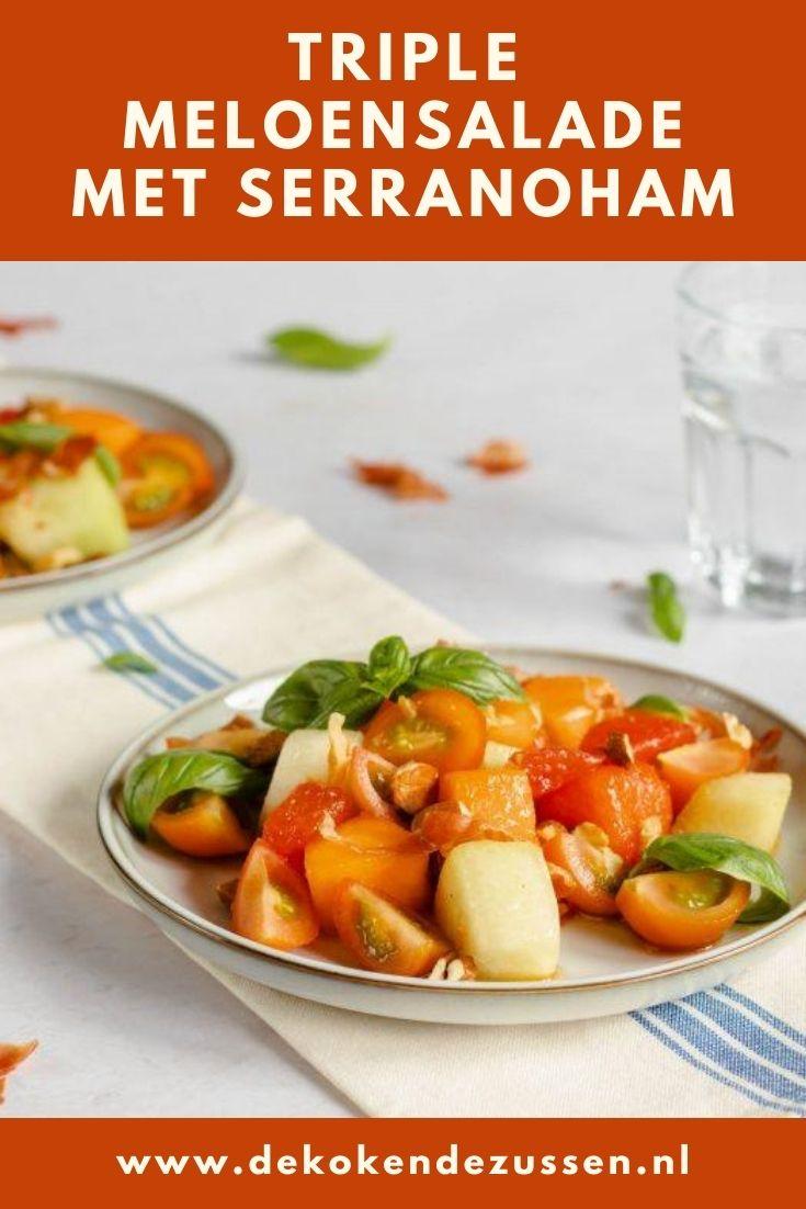 Meloen salade met Basilicum en Serranoham