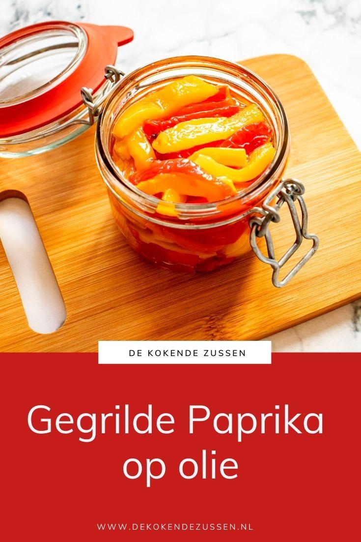 Gegrilde Paprika's op Olijfolie