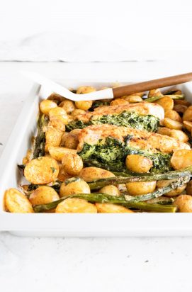 Traybake met Gevulde Kipfilet en Aardappeltjes