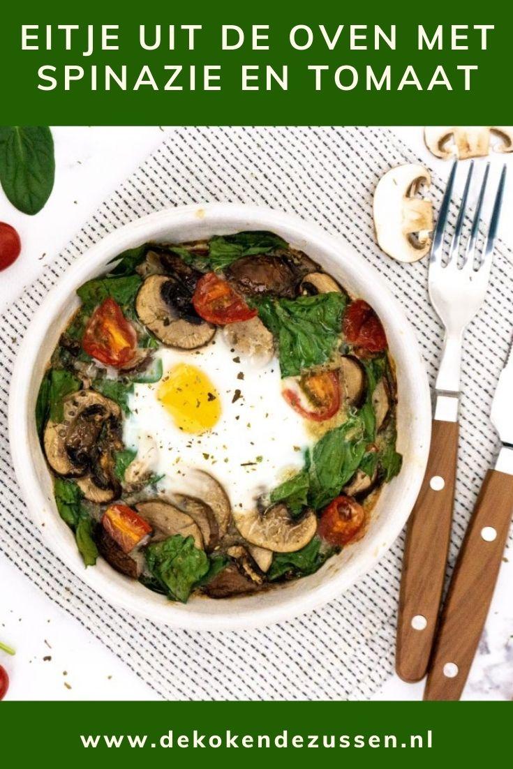 Eitje uit de Oven met Spinazie, Tomaat en Champignons