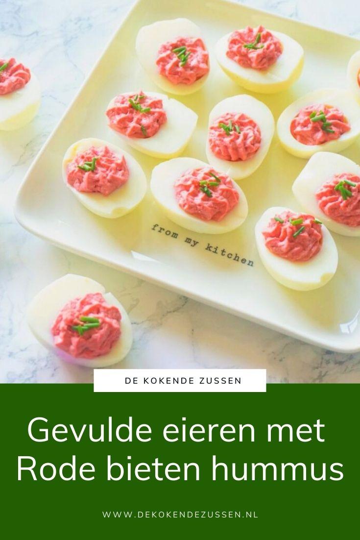 Gevulde Eieren met Rode Bietenhummus