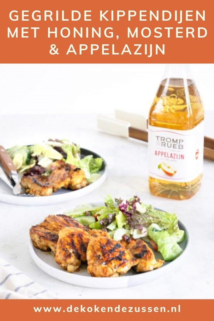 Gegrilde kippendijen met een marinade van honing, appelazijn en mosterd