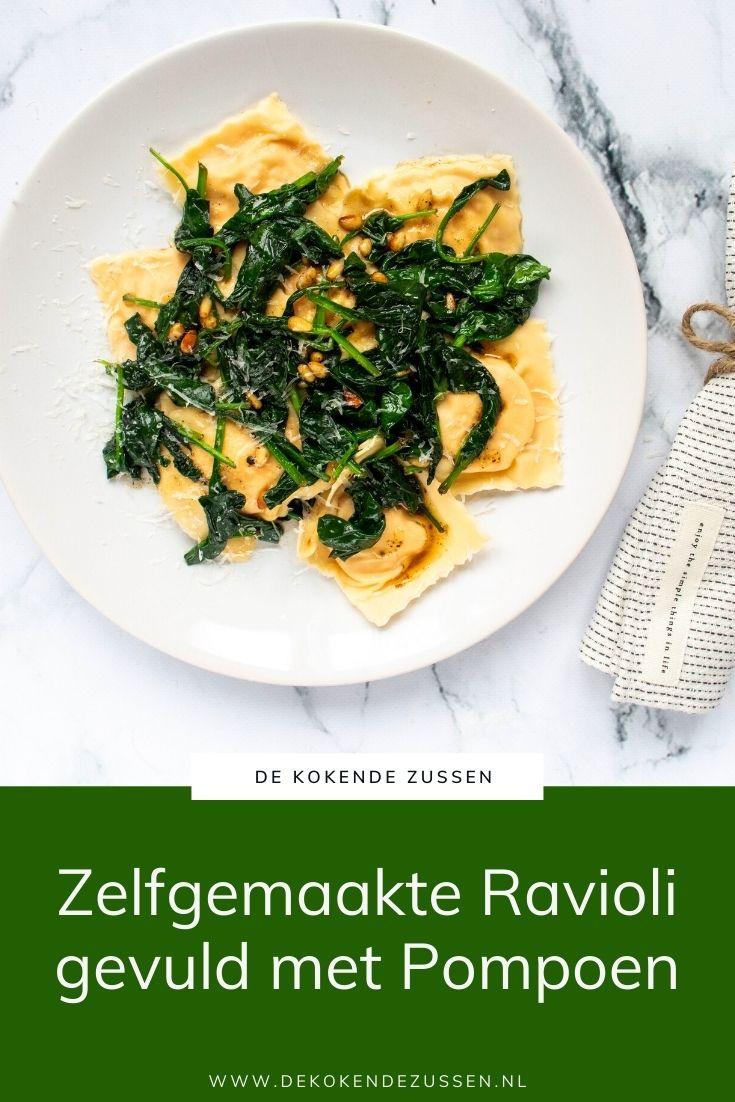 Zelfgemaakte Ravioli met Pompoen en Spinazie
