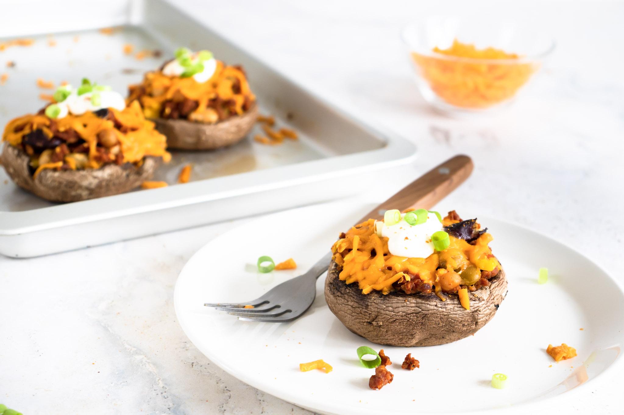 Gevulde portobello's met Vegan Gehakt