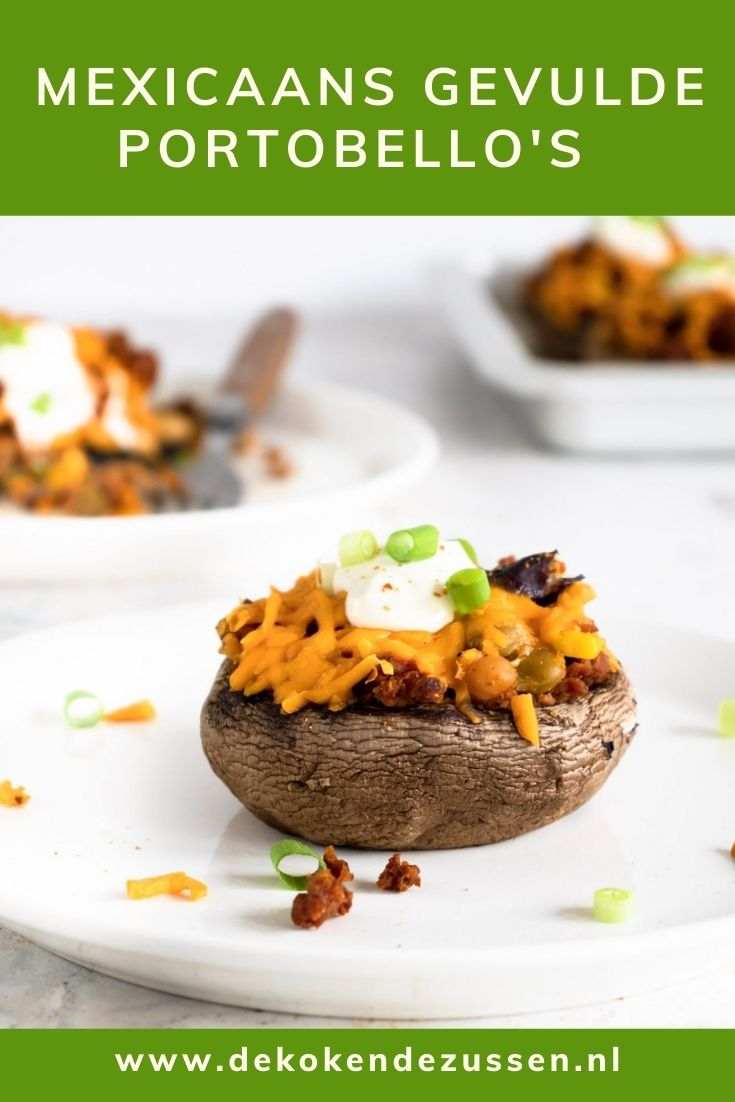Mexicaans gevulde portobello's met vegan gehakt