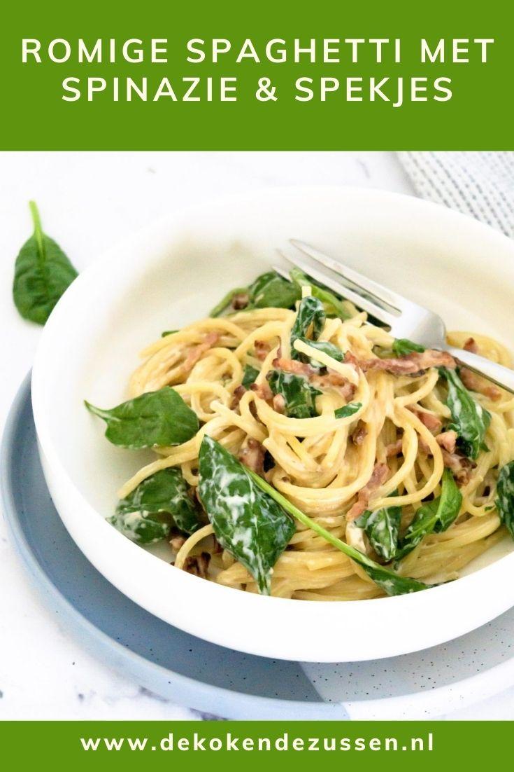 Romige Spaghetti met Spinazie en Spekjes