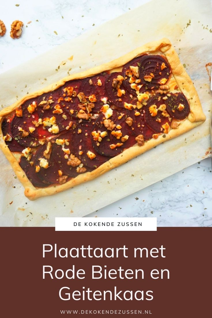 Plaattaart met Rode Bieten, Geitenkaas & Walnoot