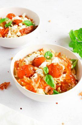 Orzo met Geroosterde Tomaten en Feta