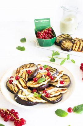 Gegrilde aubergine met halloumi