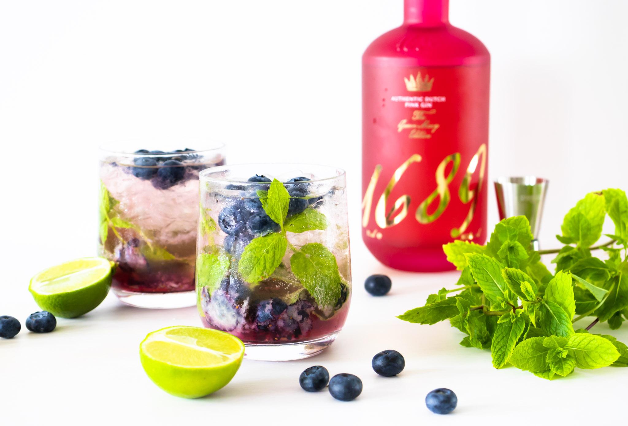 Blueberry Pink Gin Mojito