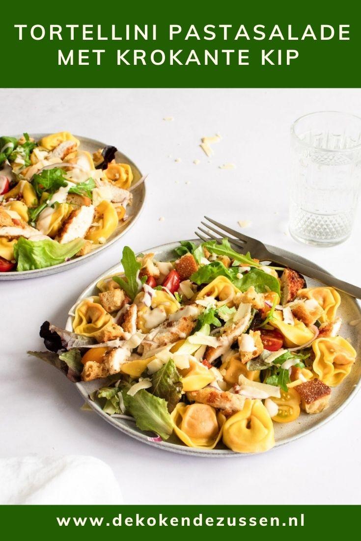 Tortellini salade met spekjes en gegrilde kip